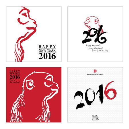 monkey: Calligraphy 2016 Happy New Year sign Cards Set with Monkey isolated on white background. Happy New Year. Merry Christmas. Year of the monkey! Illustration