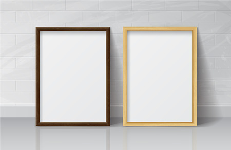 empty frame: Realistic Light Wood and Dark Wood Blank Picture frame, standing on White Floor at White Brick Wall from the Front.  Design Template for Mock Up.
