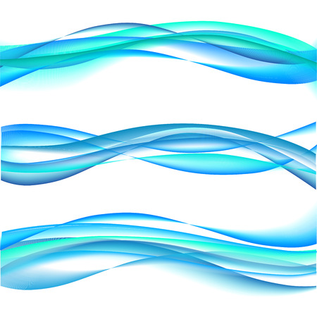 Bright Abstract Blue Waves on transparent background.
