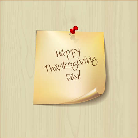 paper pin: Thanksgiving Day Holiday Typographic Design.  Note paper with pin. Card or background.  Calligraphic Elements. Long shadows.