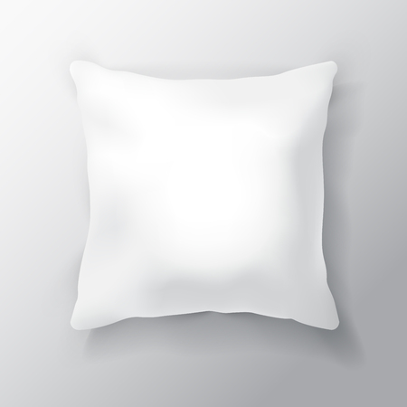 white pillow: Blank White Square Pillow Isolated on White Background.  Design Template for Mock Up. Illustration