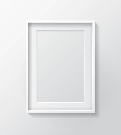 white blank: Realistic White Blank Picture frame, hanging on a White Wall from the Front.  Design Template for Mock Up.