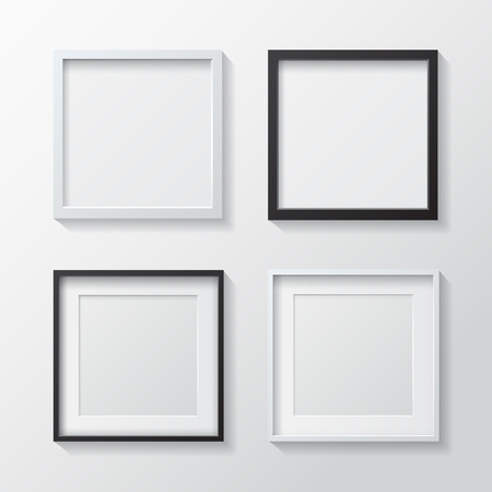 Set of White Blank Picture Frames and Black Blank Picture Frames, hanging on a White Wall from the Front. Design Template for Mock Up.