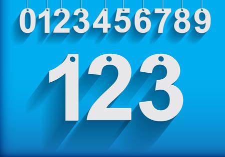 nombres: Numéros suspendus modernes avec longue Shadows.Vector Illustration.