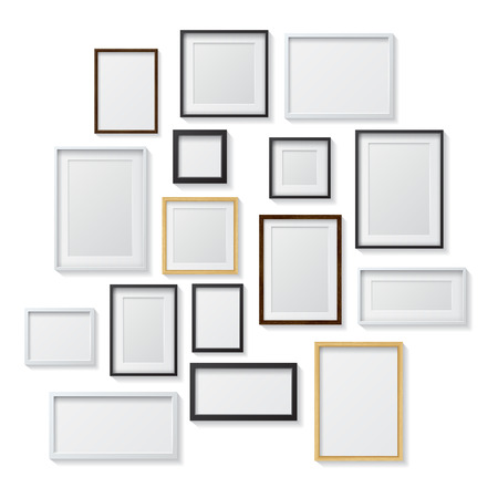 Set of White and Black Blank Picture Frames andRealistic Light Dark Wood Blank Picture Frames,hanging on a White Wall from the Front, isolated on white background. Design Template for Mock Up. Square and rectangle shapes.