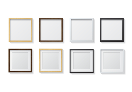 wall hanging: Set of Realistic Light Wood Blank Picture Frames and Dark Wood Blank Picture Frames, hanging on a White Wall from the Front. Set of White Blank Picture Frames and Black Blank Picture Frame. Design Template for Mock Up.