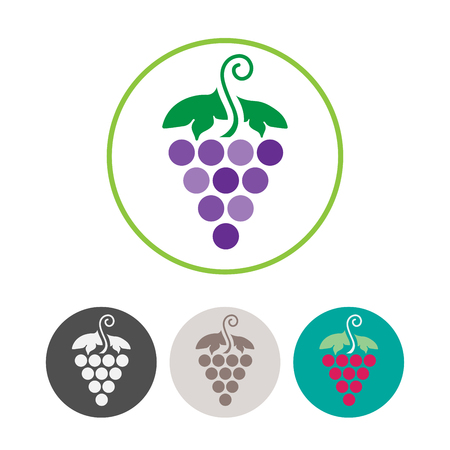 viticulture: Grapes Icons and Logo Set. For Identity Style of Natural Product Company, Restaurants, Bars and Wine Houses. Organic Grapes, agriculture and natural eat.Contour lines. Flat design. Design elements. Circle icons. Realistic image. Illustration