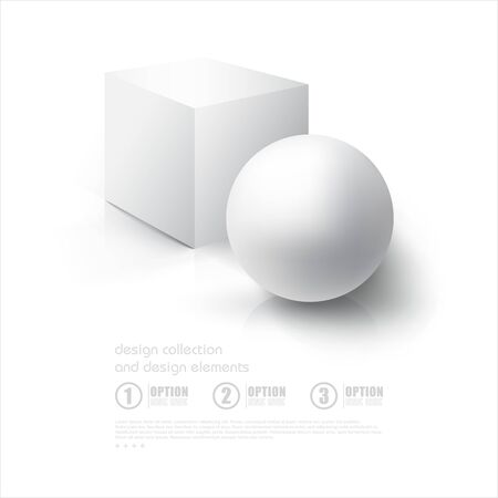 ebox: Realistic 3D White Ball and White Cube. Ball and Cube on white background with reflection. Design Template for Mock Up.