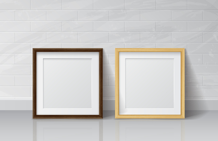 wood frame: Realistic Light Wood and Dark Wood Blank Picture frame, standing on White Floor atWhite Brick Wall from the Front. Design Template for Mock Up.