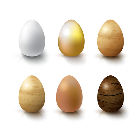 gold brown: Set of Realistic 3D White, Gold, Brown and Wooden Eggs. Eggs on white background with reflection. Design Template for Mock Up.Object for Easter Day Style Template. Illustration