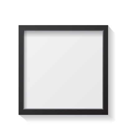 Realistic Square Black Blank Picture frame, hanging on a White Wall from the Front. Design Template for Mock Up.