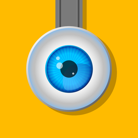 blue eyed: One eye. Cartoon. A typical character.Flat design. Contour line. Realistic images.