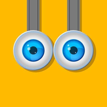 ojos caricatura: Dos ojos. Dibujos animados. Un personaje típico. Diseño plano. Línea de contorno. imágenes realistas. Vectores