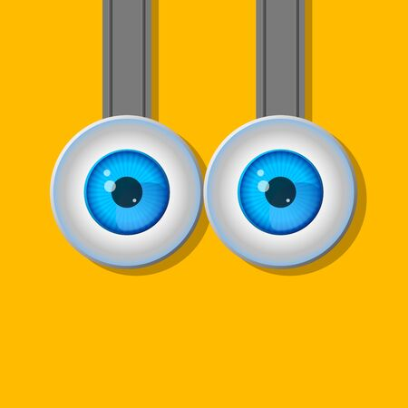 closeup: Two eyes. Cartoon. A typical character. Flat design. Contour line. Realistic images. Illustration