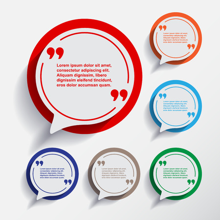 Set of six speech information bubbles for design.Quotes and brackets.Message typography.Flat design with Long shadow