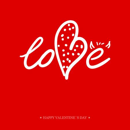 carta de amor: Tarjeta de felicitaci�n del d�a de San Valent�n de la caligraf�a. Mano di manuscrita Elementos de dise�o. Dise�o de letras.