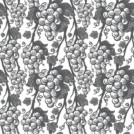 Vine Seamless Pattern. Grapes.