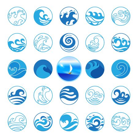 sea water: Wave Icons Set. Water Symbol or Logo design. Ocean, Sea, Beach. Flat design. Contour line. Realistic images. Illustration