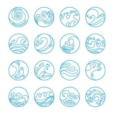 ocean wave: Wave Icons Set. Water Symbol or Logo design. Ocean, Sea, Beach. Flat design. Contour line. Realistic images. Illustration