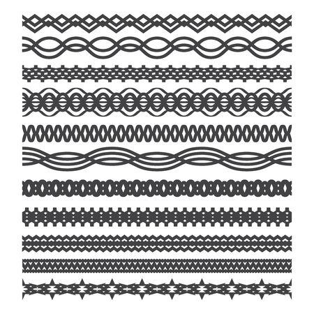 Set of vintage borders. Geometric Frames. Waves. Contour line design.