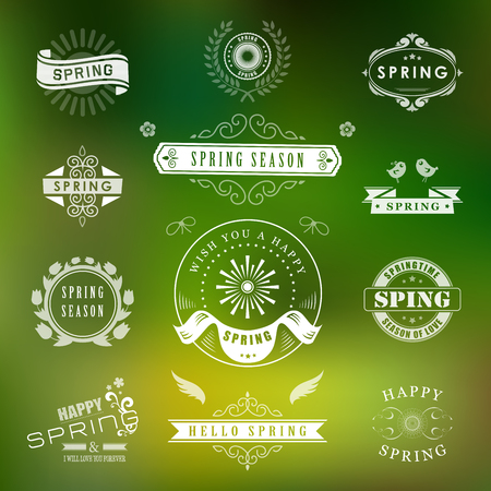 Happy Spring Typographic Design Set. Retro and Vintage Style Templates. Style Design Elements and Icons. Spring Logos for Greeting Cards, Sale Badges. Spring Flowers for background. Spring Time. Vector illustration.