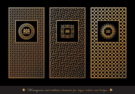 Vector set of design elements, labels and frames for luxury products in trendy linear style. Golden and black colors.Vector illustration