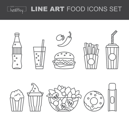 drinking water sign: Set of Food icons, thin line style, flat design,contour line.Template for restaurant and bar.Icons fo Business card, banner, brochure template. Template for computing web and app.