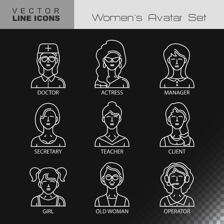 Modern Thin Contour Line Icons set of people avatars.  Women`s characters staff pictogram.  Stroke Concept for web and mobile application. Flat design isolated on transparent background. Vector Illustration