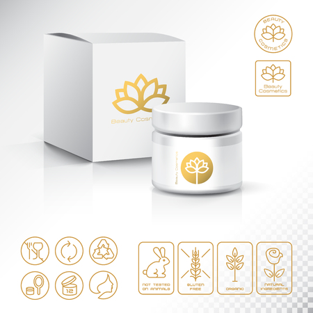 Modern Thin Contour Line Icons Set of Natural Cosmetics Packaging. Gluten free, organic product, not tested on animals.  Blank Cosmetic bottle with box isolated on white background. Design Template for Mock Up and Business card, Banner and Brochure.  Lotu Illustration