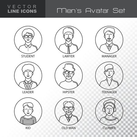 clubber: Modern Thin Contour Line Icons set of people avatars.  Man`s characters staff pictogram.  Outline Symbol collection.  Stroke Concept for web and mobile application. Flat design isolated on transparent background. Vector illustration.