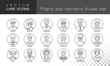 clubber: Modern Thin Contour Line Icons set of people avatars.  Man`s and Women`s characters staff pictogram.  Stroke Concept for web and mobile application. Flat design isolated on transparent background. Vector