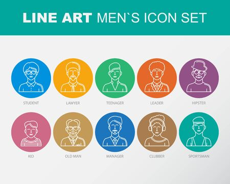 clubber: Modern Thin Contour Line Icons set of people avatars.  Man`s characters staff pictogram.  Stroke Concept for web and mobile application. Flat design isolated on white background. Illustration