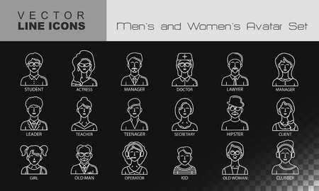 clubber: Modern Thin Contour Line Icons set of people avatars.  Man`s and Women`s characters staff pictogram.  Stroke Logo Concept for web and mobile application. Flat design isolated on transparent background. Vector