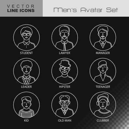 clubber: Modern Thin Contour Line Icons set of people avatars.  Man`s characters staff pictogram.  Stroke Logo Concept for web and mobile application. Flat design isolated on transparent background. Vector