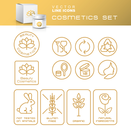 Modern Thin Contour Line Icons Set of Natural Cosmetics Packaging. Gluten free, organic product, not tested on animals.  Blank Cosmetic bottle with box isolated on white background. Design Template for Mock Up and Business card, Banner and Brochure.  Lotu
