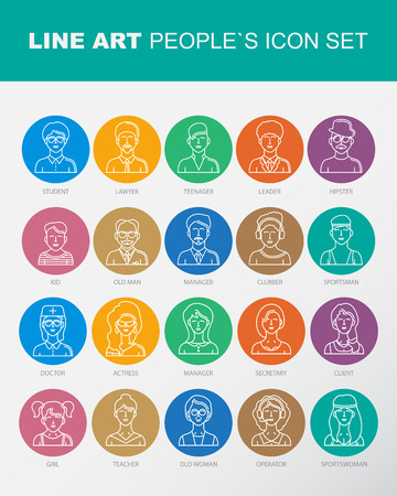clubber: Modern Thin Contour Line Icons set of people avatars.  Man`s and Women`s characters staff pictogram.  Stroke Logo Concept for web and mobile application. Flat design isolated on white background.