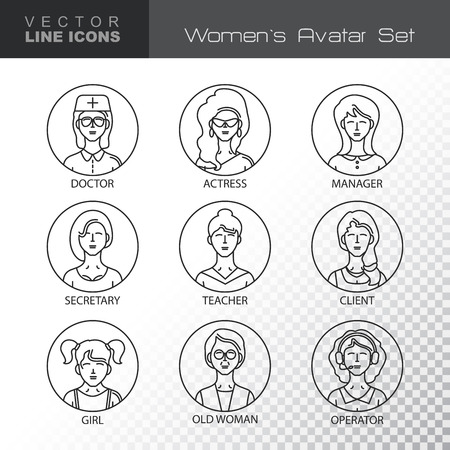 clubber: Modern Thin Contour Line Icons set of people avatars.  Women`s characters staff pictogram.  Stroke Logo Concept for web and mobile application. Flat design isolated on transparent background. Vector illustration.