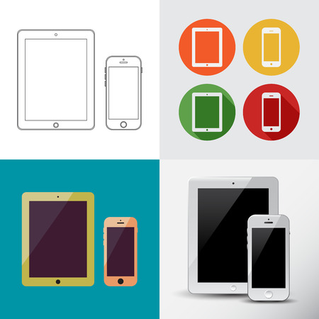 Outline drawing Smart Tablet and Phone similar to ipad and smartphone.Elegant Contour Line design.Flat design icons.Isolated on white background.