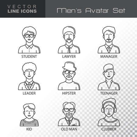 clubber: Modern Thin Contour Line Icons set of people avatars.  Man`s characters staff pictogram.  Outline Symbol collection.  Stroke Logo Concept for web and mobile application. Flat design isolated on transparent background. Vector illustration.