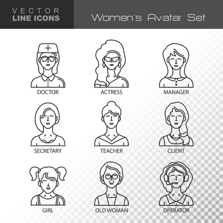 pictogram people: Modern Thin Contour Line Icons set of people avatars.  Women`s characters staff pictogram.  Stroke Logo Concept for web and mobile application. Flat design isolated on transparent background. Vector illustration.