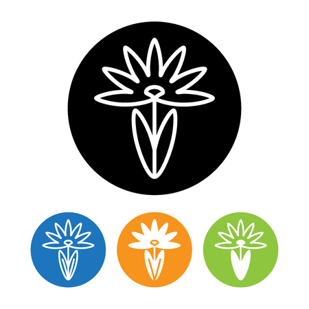 aster: Beautiful Aster flower icon and  in trendy linear style. Identity style for Beauty Salon for Business card, Banner and Brochure.  Emblem and icon of flower. Contour line. Flat design. Design elements.