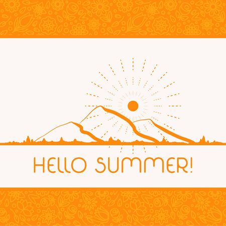 handlettering: Summer background in trendy linear style with hand-lettering Hello Summer. Banner or Card with flowers.Emblem and icon of flowers. Template for Flat Summer design.