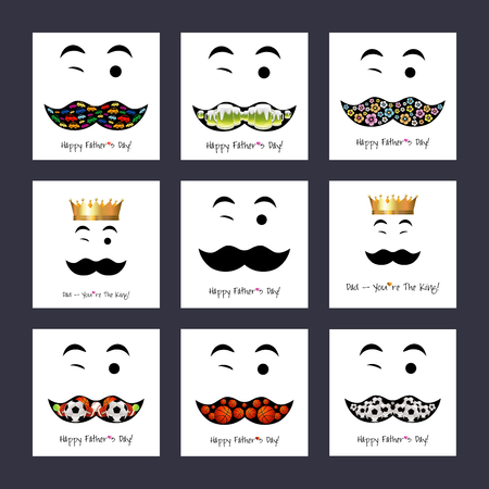 winking: Happy Fathers day  background or card. Mustache, winking, flat hipster vintage design.
