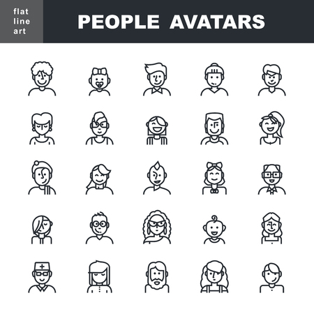 adolescent: Man`s and Women`s characters staff pictogram.  Modern Thin Contour Line Icons set of people avatars for profile page,  social network, social media, professional human occupation, portfolio, web and mobile application.  Flat design isolated on white backg