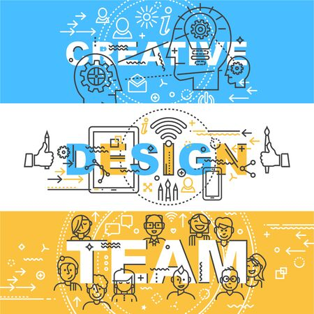 Modern Thin Contour Line Design Concept Banner of words Creative, Design, Team.  Set of application development, web and mobile application technologies,  information and social media. Icons and design elements.  Flat design isolated on white background. Banco de Imagens - 61119828