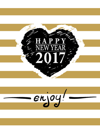 2017 happy new year card or background trendy style with hand lettering words