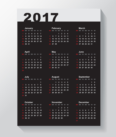 yearly: Calendar Template for 2017 year.  Week starts from Sunday.