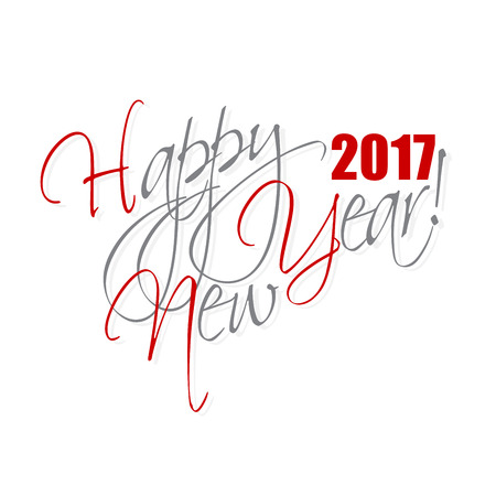 2017 Happy New Year hand lettering card or background. Vettoriali