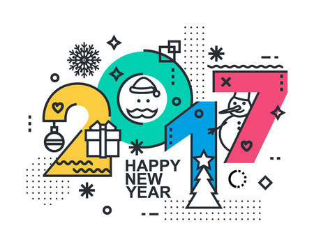 typo: 2017 Happy New Year trendy and minimalistic card or background. Modern Thin Contour Line Design Concept. Flat, outline. Isolated on white background.
