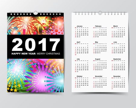 yearly: Calendar Template for 2017 year. Week starts from Sunday.Modern Flat Design Concept.Vector illustration Illustration